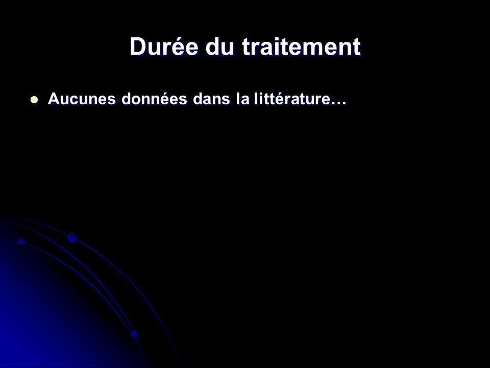 Durée du traitement Aucunes données dans la littérature… Aucunes données dans la littérature…