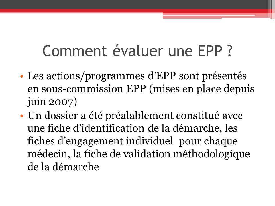 Comment évaluer une EPP ? Les actions/programmes dEPP sont présentés en sous-commission EPP (mises en place depuis juin 2007) Un dossier a été préalab
