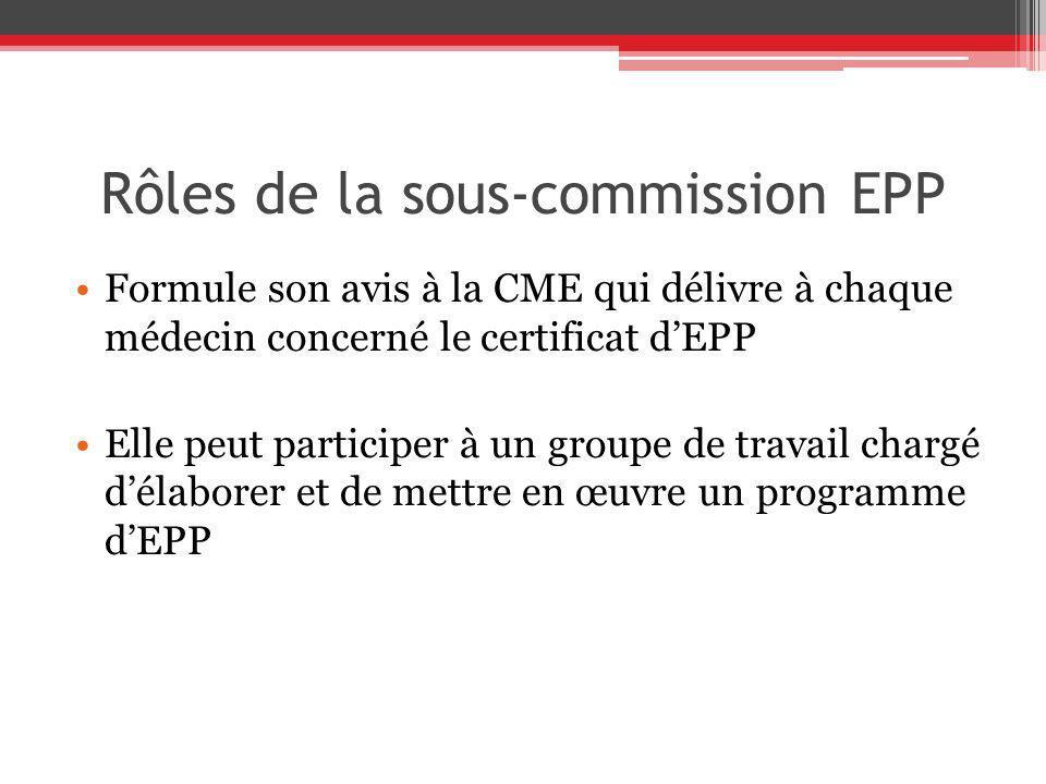 Rôles de la sous-commission EPP Formule son avis à la CME qui délivre à chaque médecin concerné le certificat dEPP Elle peut participer à un groupe de