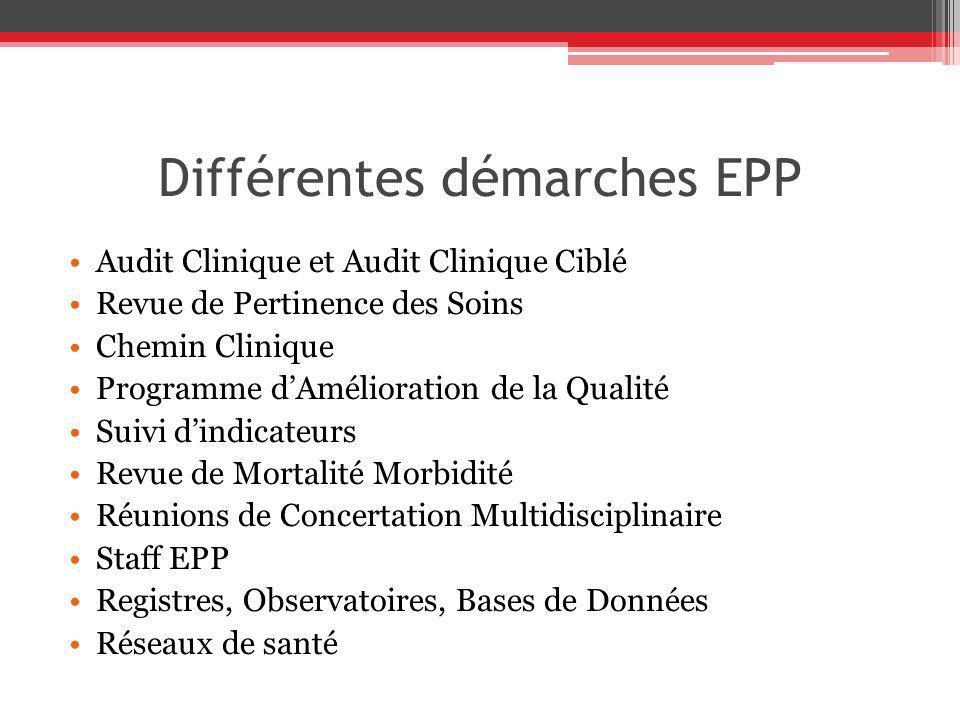 Différentes démarches EPP Audit Clinique et Audit Clinique Ciblé Revue de Pertinence des Soins Chemin Clinique Programme dAmélioration de la Qualité S