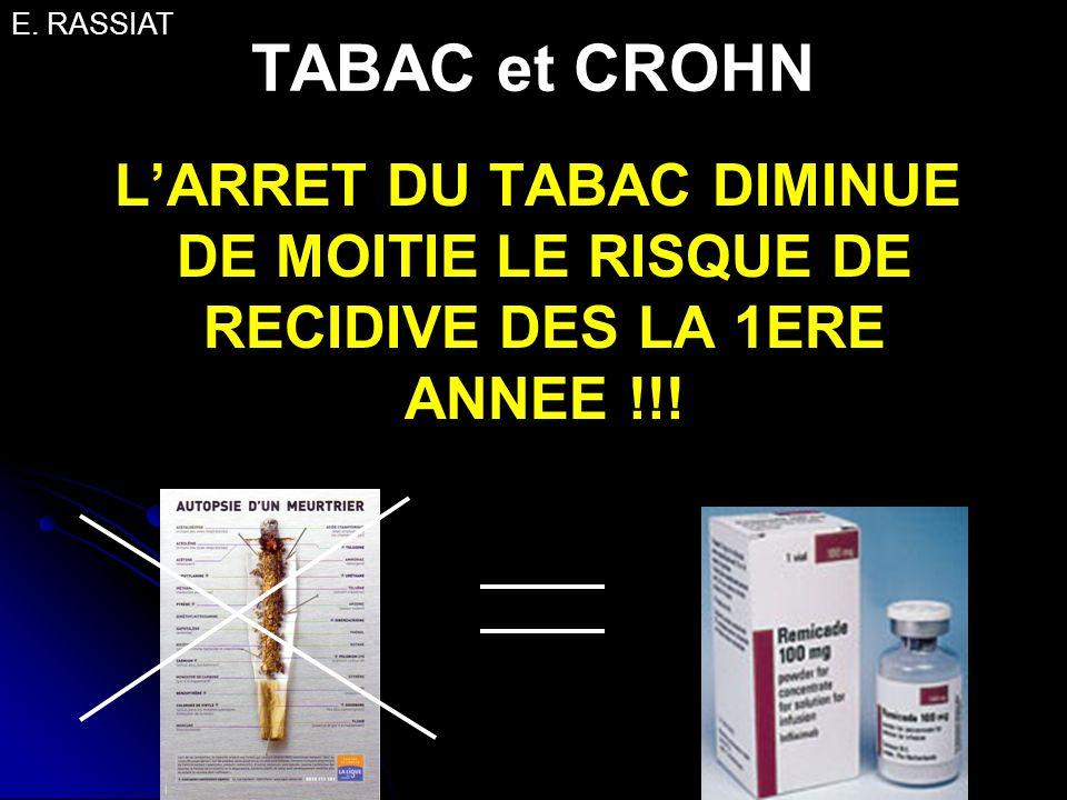 TABAC et CROHN LARRET DU TABAC DIMINUE DE MOITIE LE RISQUE DE RECIDIVE DES LA 1ERE ANNEE !!! E. RASSIAT