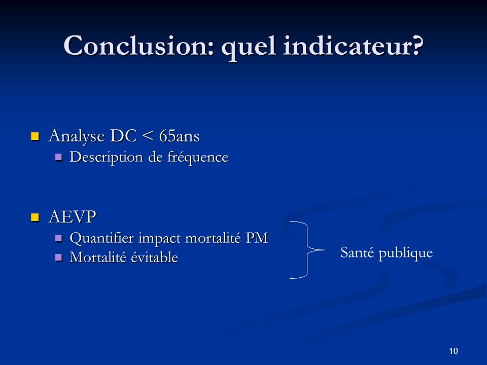 10 Conclusion: quel indicateur.