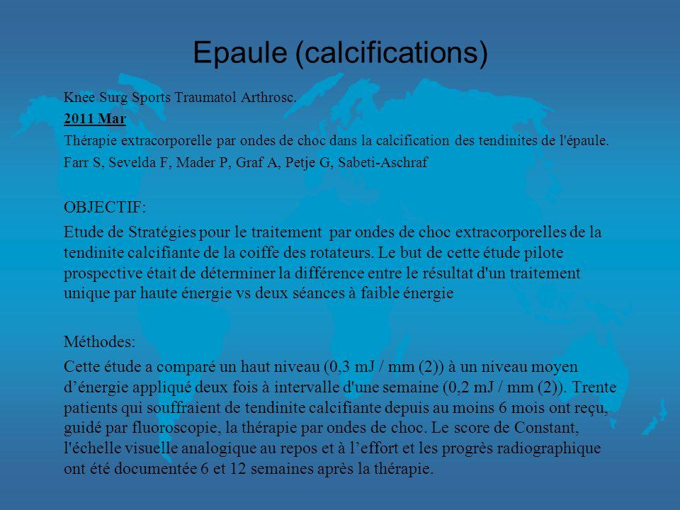 Epaule (calcifications) l Le critère de jugement principal était le changement du score de Constant. Un total de 80 patients ont été inclus (40 dans c