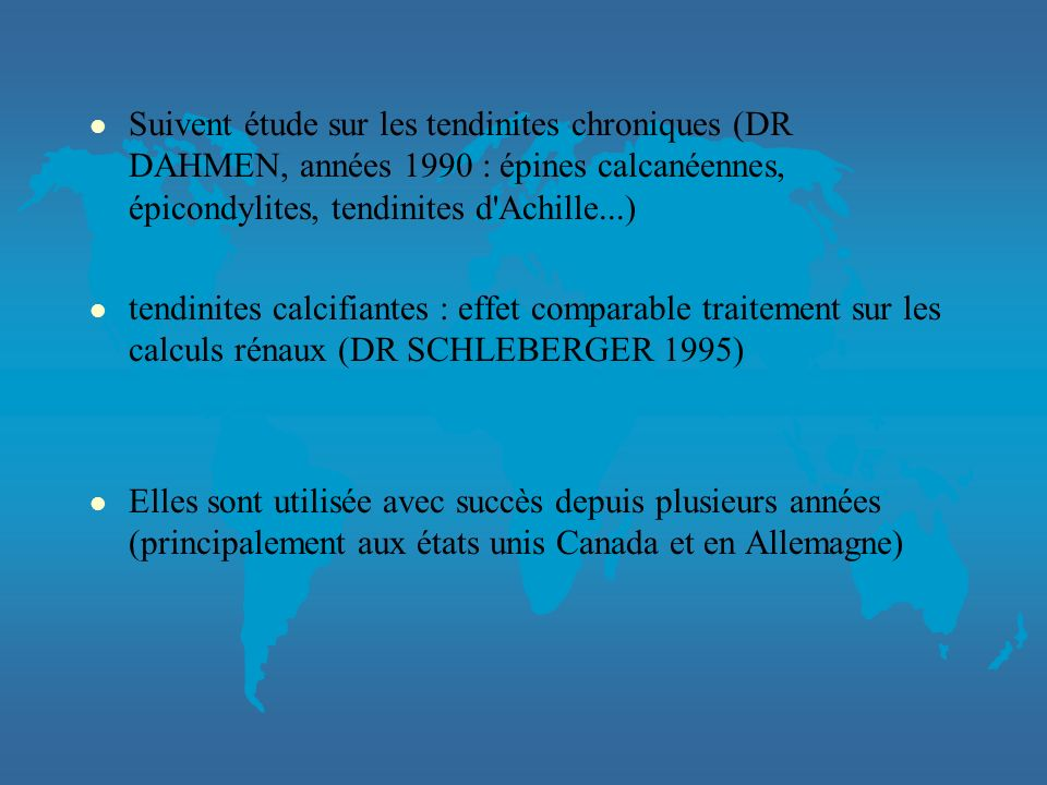 HISTORIQUE DES ONDES DE CHOC l LITHOTRIPSIE utilisé pour le traitement des calculs rénaux. l Recherche de l'effet sur l'os pour évaluer les conséquenc