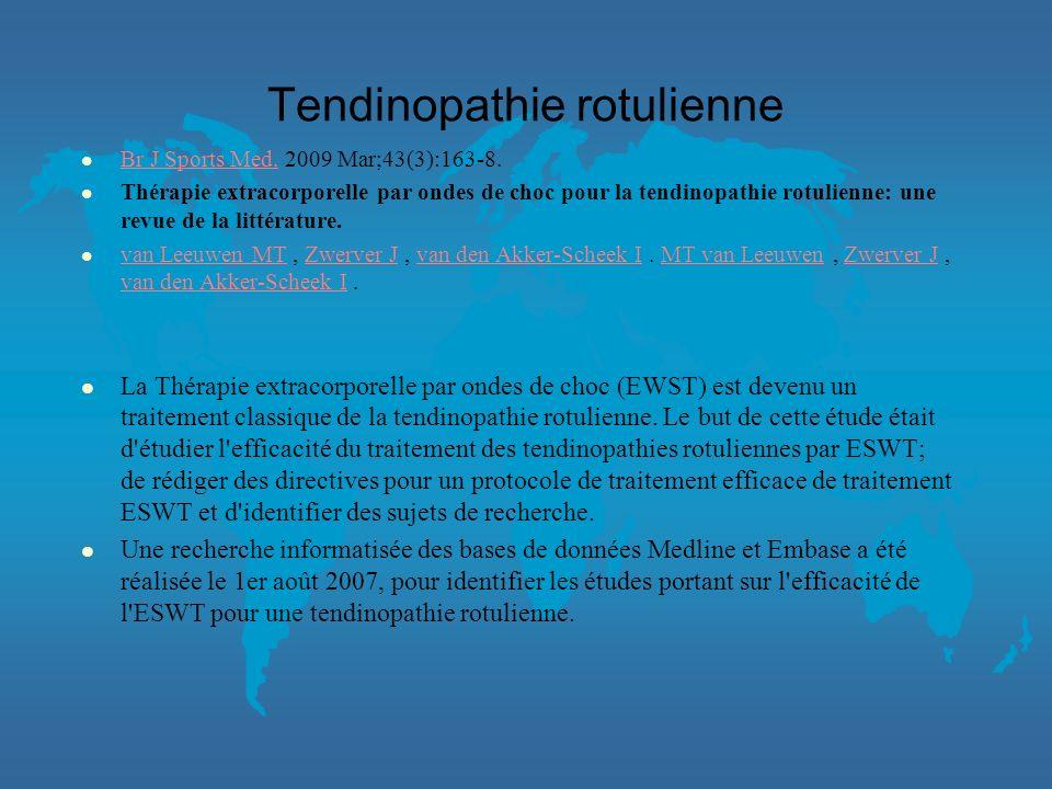 TENDINOPATHIE ROTULIENNE