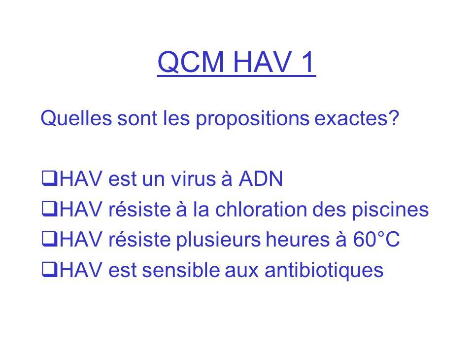 QCM HAV 1 Quelles sont les propositions exactes? HAV est un virus à ADN HAV résiste à la chloration des piscines HAV résiste plusieurs heures à 60°C H