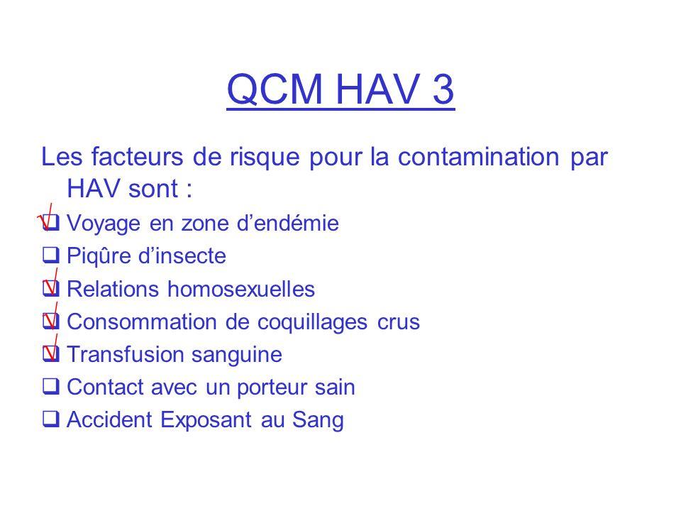 QCM HAV 3 Les facteurs de risque pour la contamination par HAV sont : Voyage en zone dendémie Piqûre dinsecte Relations homosexuelles Consommation de