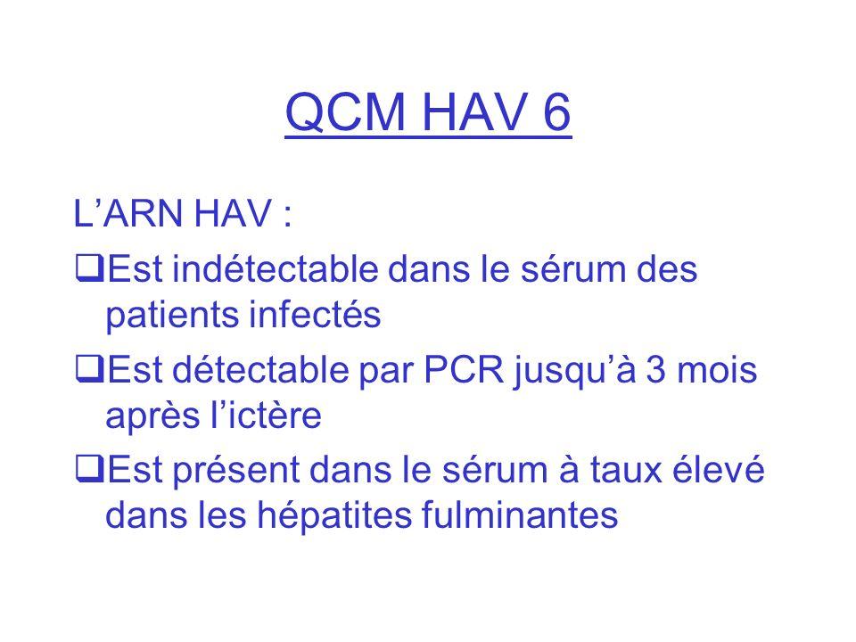 QCM HAV 6 LARN HAV : Est indétectable dans le sérum des patients infectés Est détectable par PCR jusquà 3 mois après lictère Est présent dans le sérum