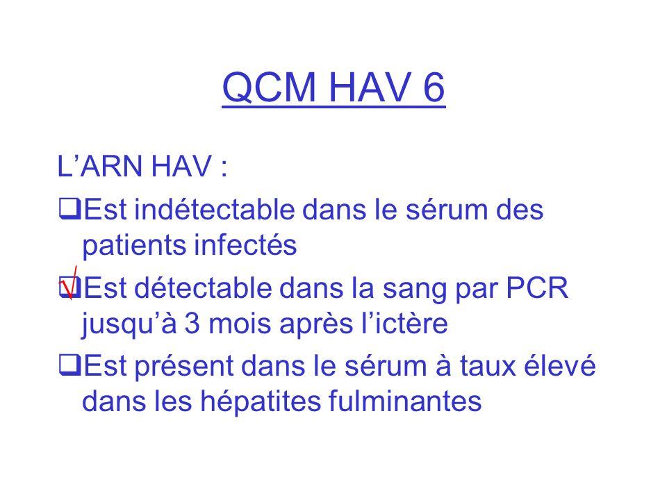 QCM HAV 6 LARN HAV : Est indétectable dans le sérum des patients infectés Est détectable dans la sang par PCR jusquà 3 mois après lictère Est présent