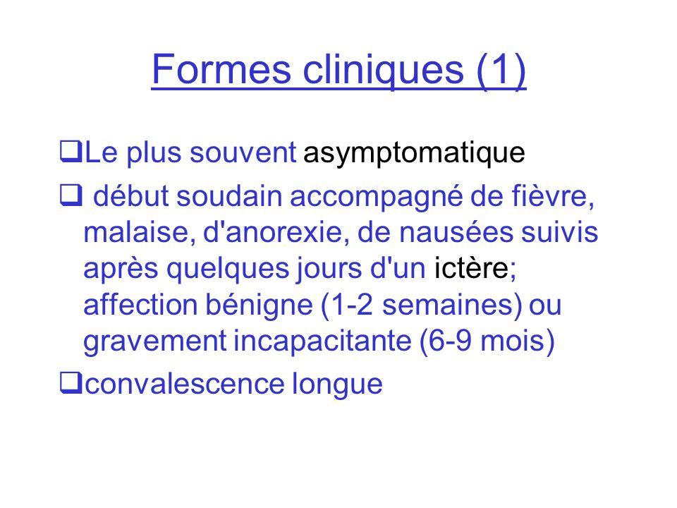 Formes cliniques (1) Le plus souvent asymptomatique début soudain accompagné de fièvre, malaise, d'anorexie, de nausées suivis après quelques jours d'