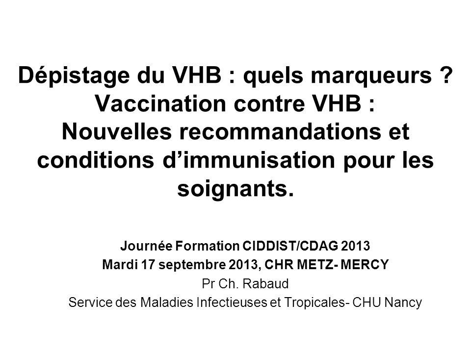 Dépistage du VHB : quels marqueurs ? Vaccination contre VHB : Nouvelles recommandations et conditions dimmunisation pour les soignants. Journée Format
