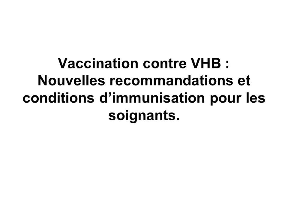 Vaccination contre VHB : Nouvelles recommandations et conditions dimmunisation pour les soignants.