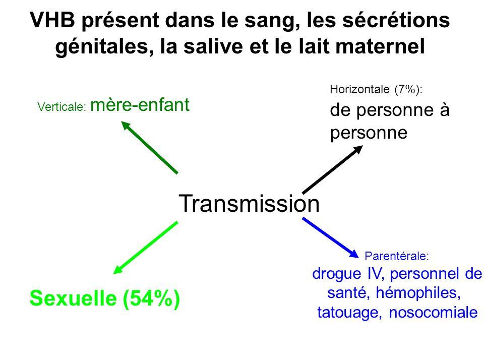 VHB présent dans le sang, les sécrétions génitales, la salive et le lait maternel Transmission Verticale: mère-enfant Sexuelle (54%) Horizontale (7%):