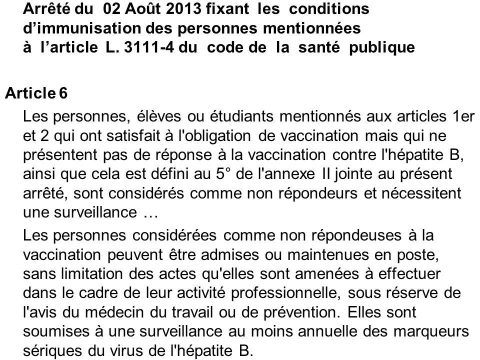 Arrêté du 02 Août 2013 fixant les conditions dimmunisation des personnes mentionnées à larticle L. 3111-4 du code de la santé publique Article 6 Les p