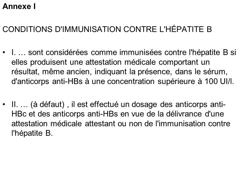 Annexe I CONDITIONS D'IMMUNISATION CONTRE L'HÉPATITE B I. … sont considérées comme immunisées contre l'hépatite B si elles produisent une attestation