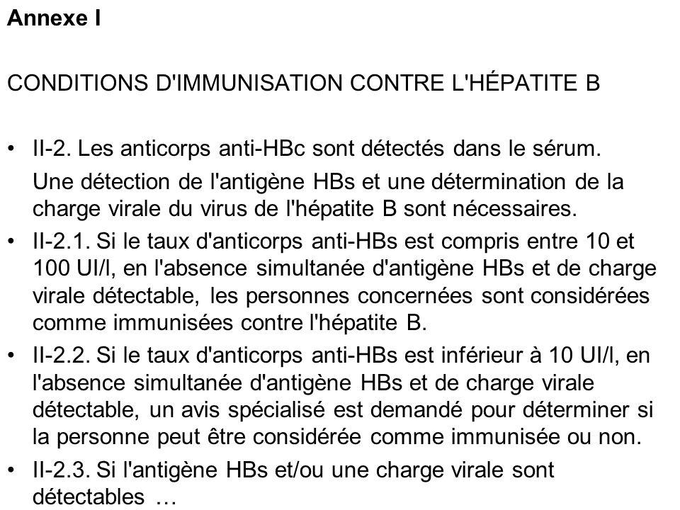 Annexe I CONDITIONS D'IMMUNISATION CONTRE L'HÉPATITE B II-2. Les anticorps anti-HBc sont détectés dans le sérum. Une détection de l'antigène HBs et un