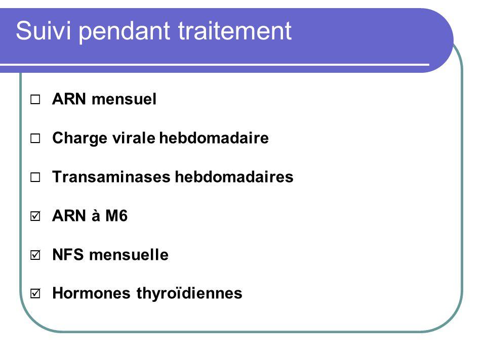 Suivi pendant traitement ARN mensuel Charge virale hebdomadaire Transaminases hebdomadaires ARN à M6 NFS mensuelle Hormones thyroïdiennes