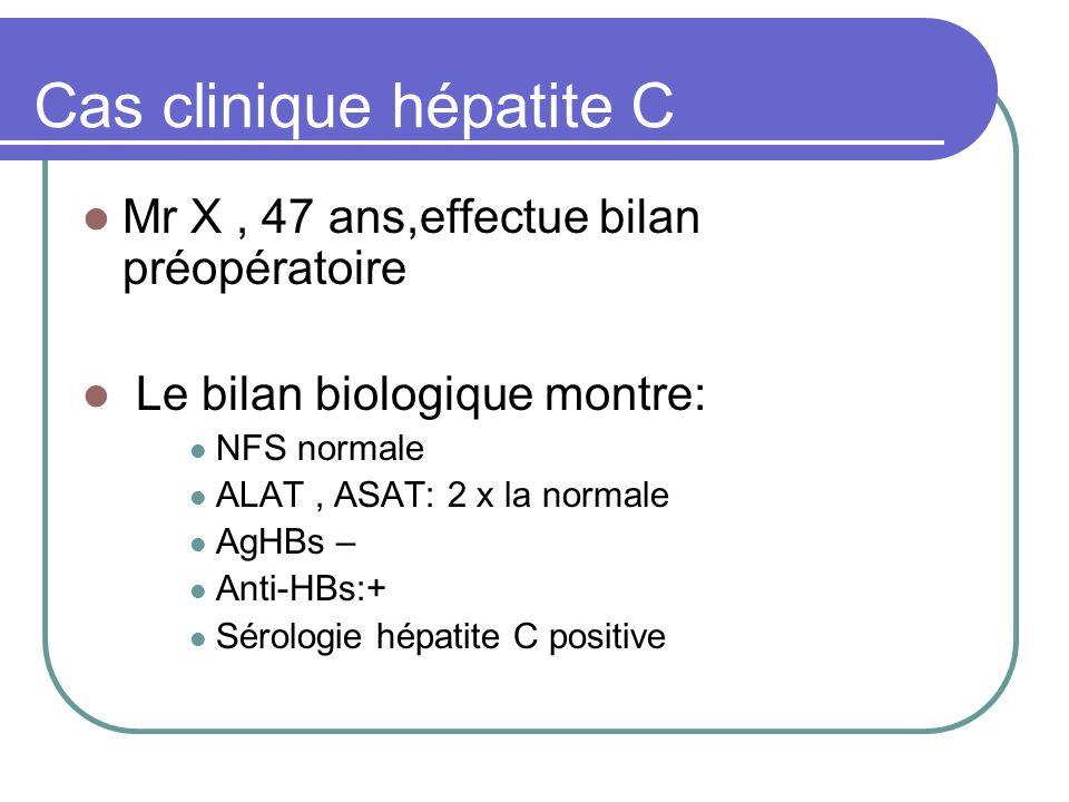 Cas clinique hépatite C Mr X, 47 ans,effectue bilan préopératoire Le bilan biologique montre: NFS normale ALAT, ASAT: 2 x la normale AgHBs – Anti-HBs: