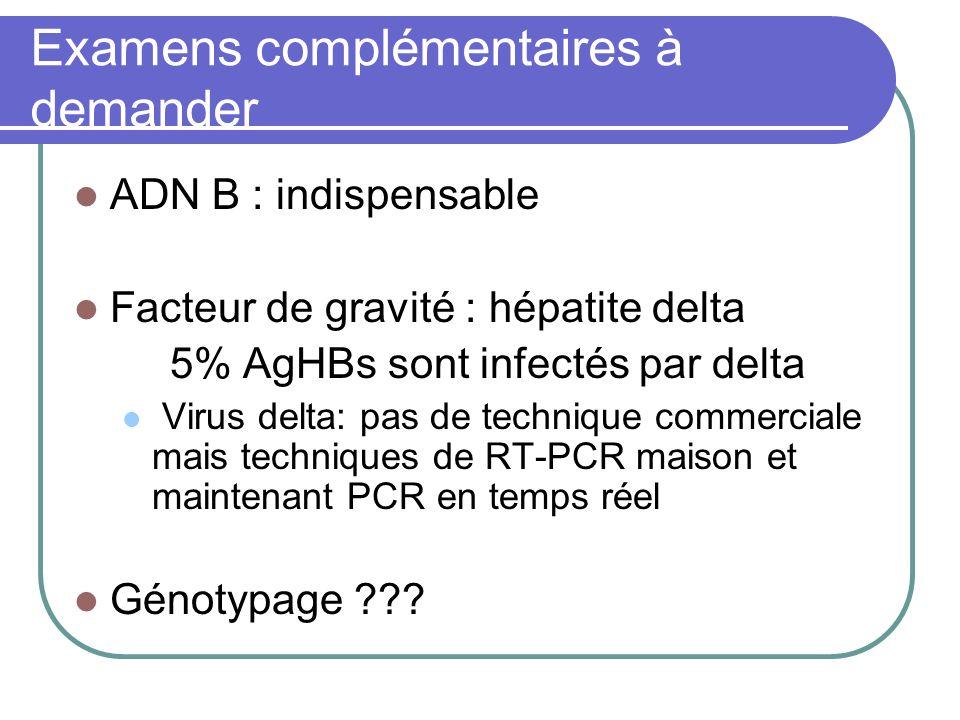 Examens complémentaires à demander ADN B : indispensable Facteur de gravité : hépatite delta 5% AgHBs sont infectés par delta Virus delta: pas de tech