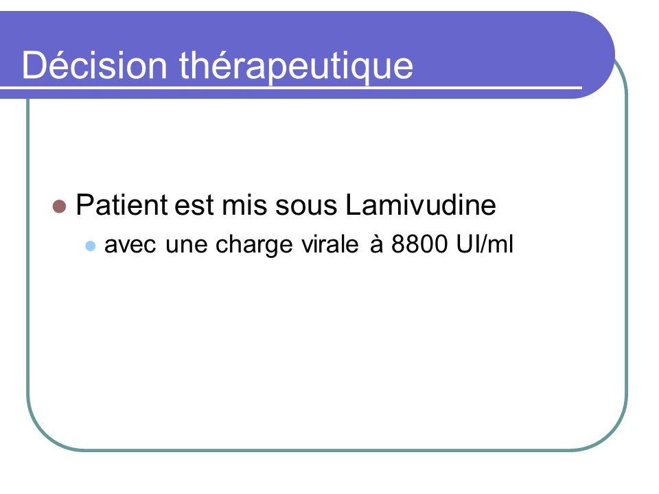 Décision thérapeutique Patient est mis sous Lamivudine avec une charge virale à 8800 UI/ml