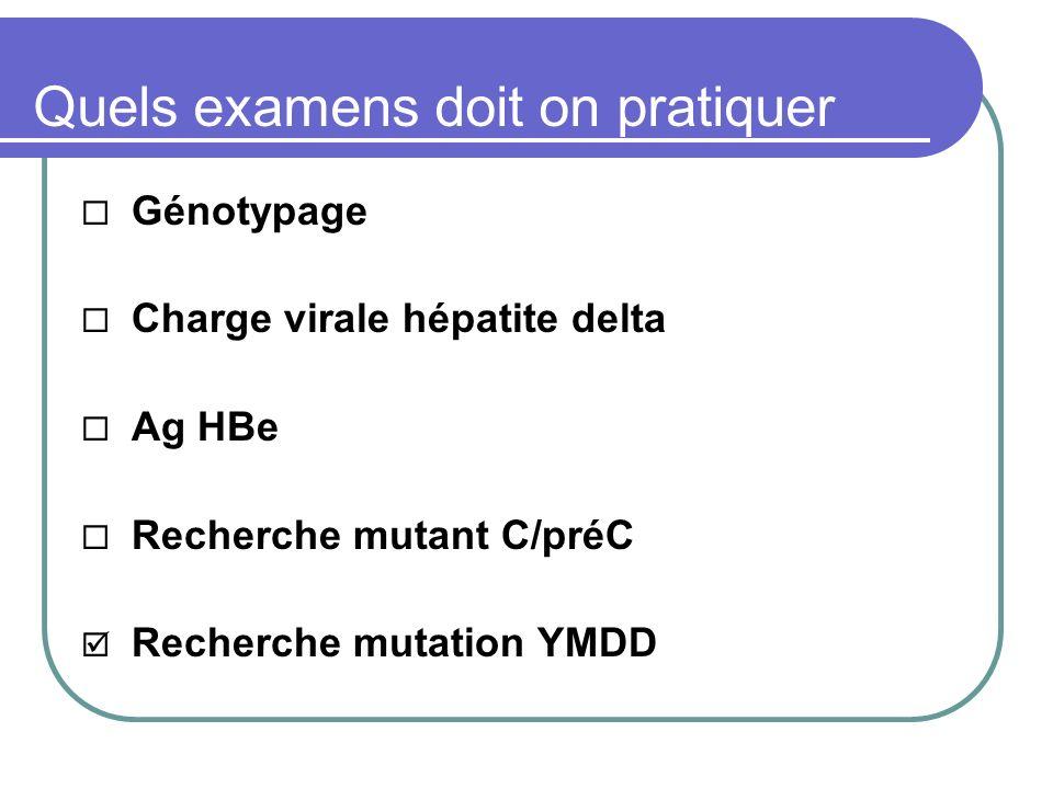 Quels examens doit on pratiquer Génotypage Charge virale hépatite delta Ag HBe Recherche mutant C/préC Recherche mutation YMDD
