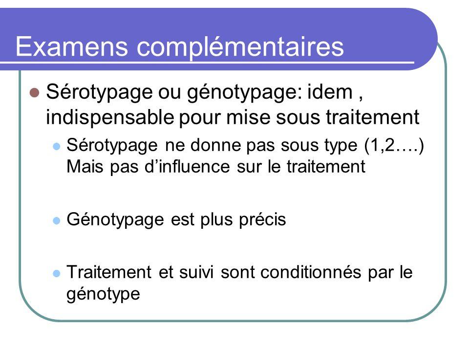 Examens complémentaires Sérotypage ou génotypage: idem, indispensable pour mise sous traitement Sérotypage ne donne pas sous type (1,2….) Mais pas din