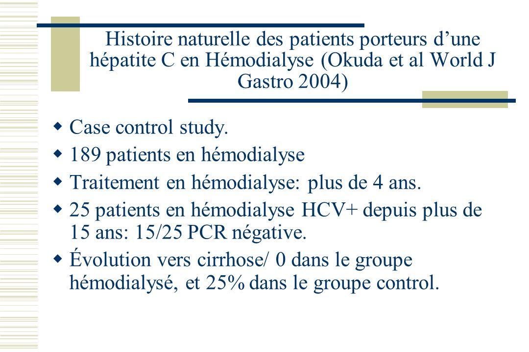 Histoire naturelle des patients porteurs dune hépatite C en Hémodialyse (Okuda et al World J Gastro 2004) Case control study.