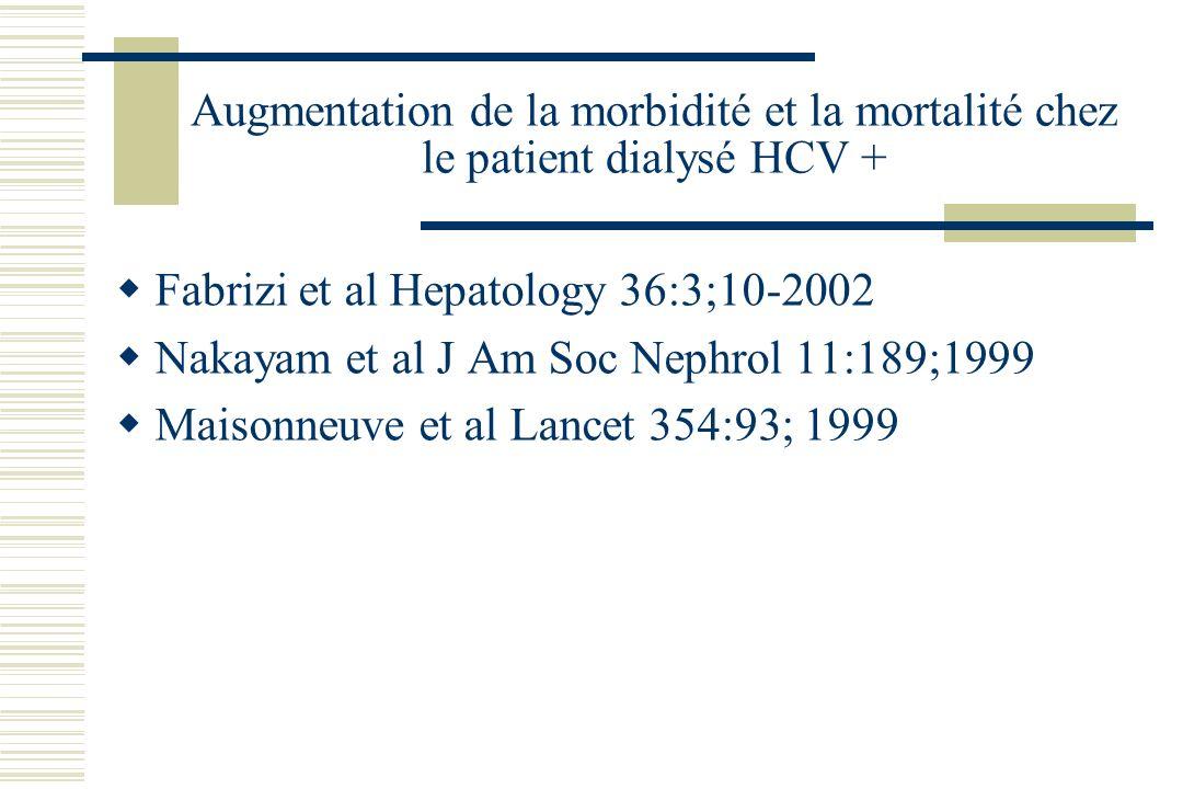 Augmentation de la morbidité et la mortalité chez le patient dialysé HCV + Fabrizi et al Hepatology 36:3;10-2002 Nakayam et al J Am Soc Nephrol 11:189;1999 Maisonneuve et al Lancet 354:93; 1999