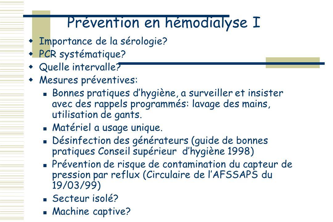 Prévention en hémodialyse I Importance de la sérologie.
