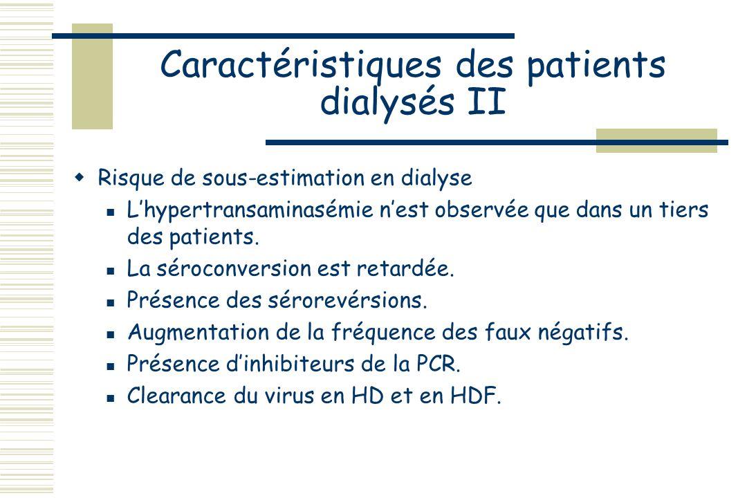 Caractéristiques des patients dialysés I La prévalence de lhépatite C est plus haute chez les dialysés chroniques que dans la population générale. Cet
