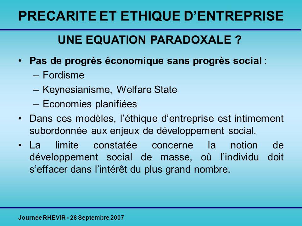 Journée RHEVIR - 28 Septembre 2007 Pas de progrès économique sans progrès social : –Fordisme –Keynesianisme, Welfare State –Economies planifiées Dans ces modèles, léthique dentreprise est intimement subordonnée aux enjeux de développement social.