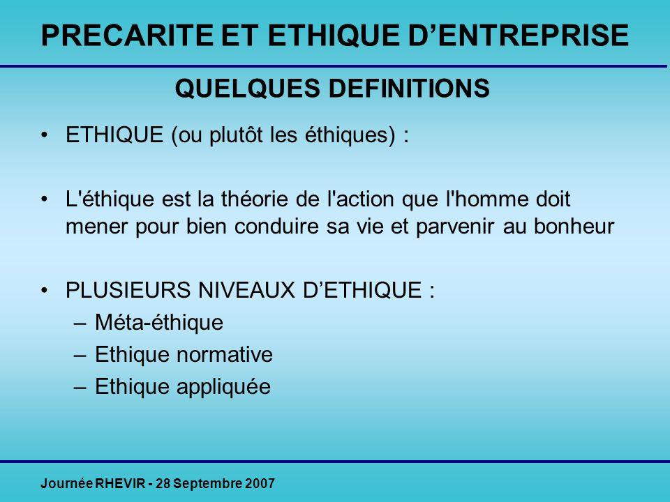 Journée RHEVIR - 28 Septembre 2007 ETHIQUE (ou plutôt les éthiques) : L éthique est la théorie de l action que l homme doit mener pour bien conduire sa vie et parvenir au bonheur PLUSIEURS NIVEAUX DETHIQUE : –Méta-éthique –Ethique normative –Ethique appliquée PRECARITE ET ETHIQUE DENTREPRISE QUELQUES DEFINITIONS