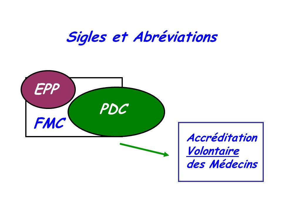 Sigles et Abréviations FMC PDC EPP Accréditation Volontaire des Médecins