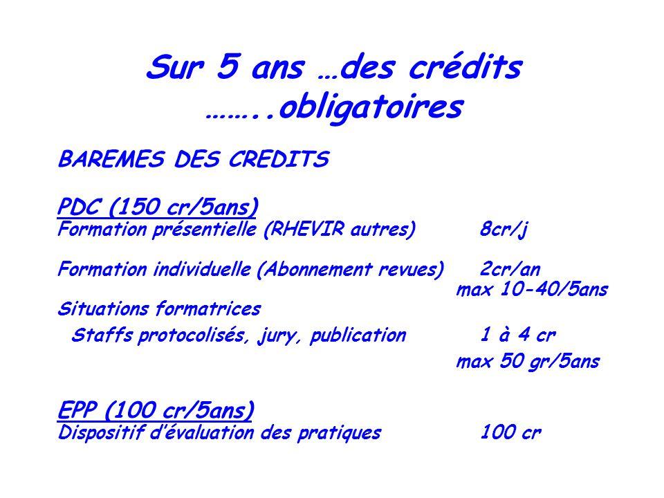 Sur 5 ans …des crédits ……..obligatoires BAREMES DES CREDITS PDC (150 cr/5ans) Formation présentielle (RHEVIR autres) 8cr/j Formation individuelle (Abo