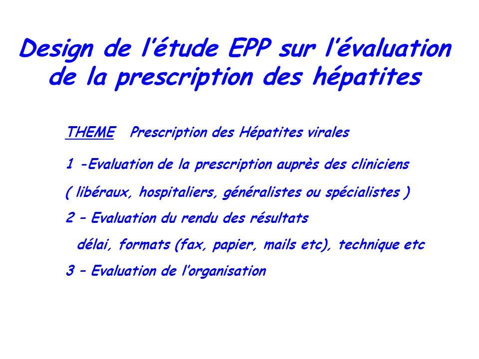 THEME Prescription des Hépatites virales 1 -Evaluation de la prescription auprès des cliniciens ( libéraux, hospitaliers, généralistes ou spécialistes