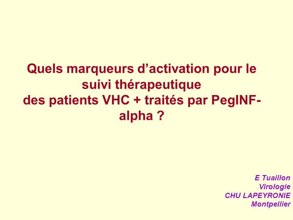Quels marqueurs dactivation pour le suivi thérapeutique des patients VHC + traités par PegINF- alpha ? E Tuaillon Virologie CHU LAPEYRONIE Montpellier