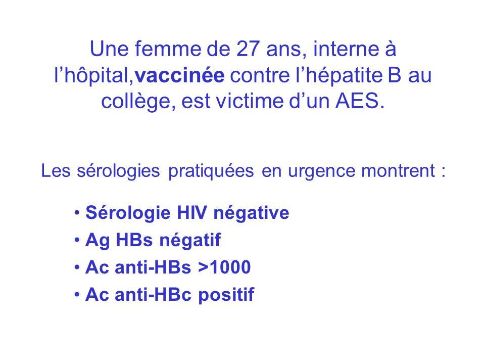 Une femme de 27 ans, interne à lhôpital,vaccinée contre lhépatite B au collège, est victime dun AES. Les sérologies pratiquées en urgence montrent : S