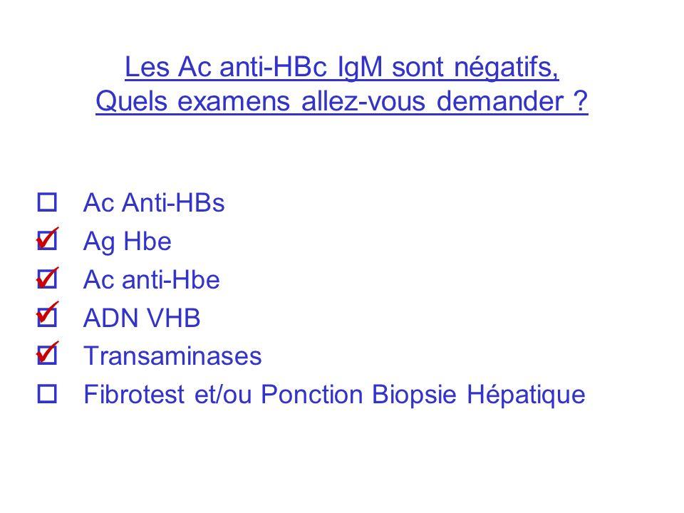 Les Ac anti-HBc IgM sont négatifs, Quels examens allez-vous demander ? Ac Anti-HBs Ag Hbe Ac anti-Hbe ADN VHB Transaminases Fibrotest et/ou Ponction B