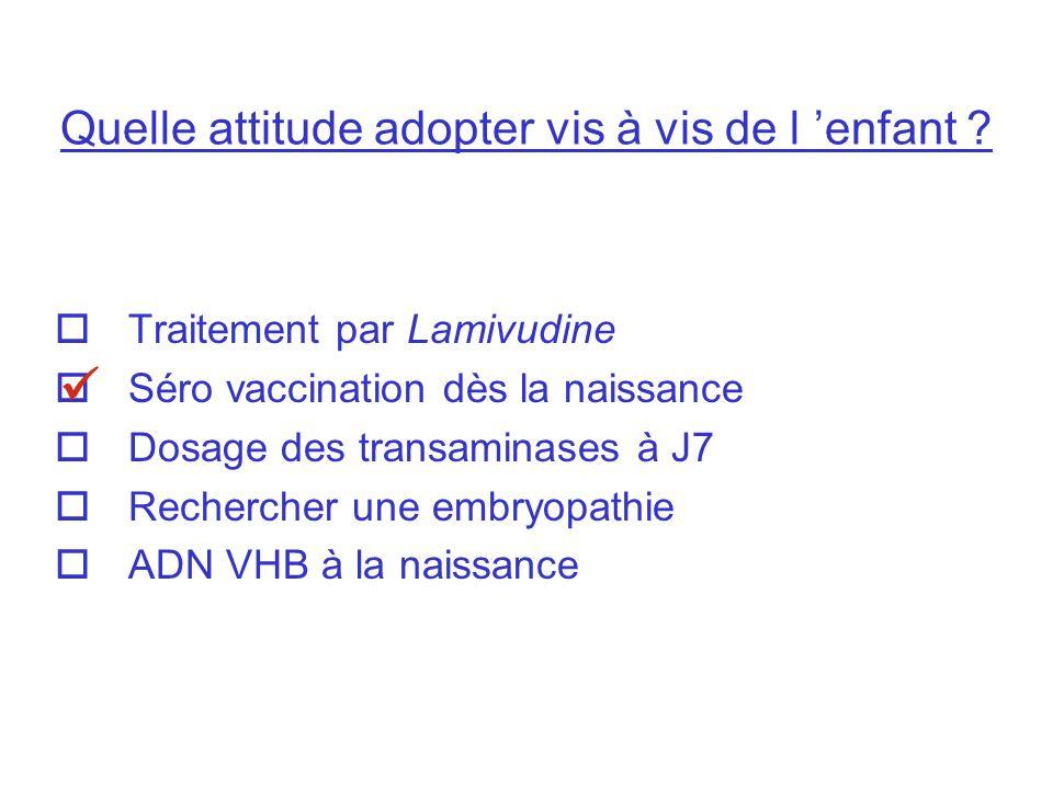 Quelle attitude adopter vis à vis de l enfant ? Traitement par Lamivudine Séro vaccination dès la naissance Dosage des transaminases à J7 Rechercher u