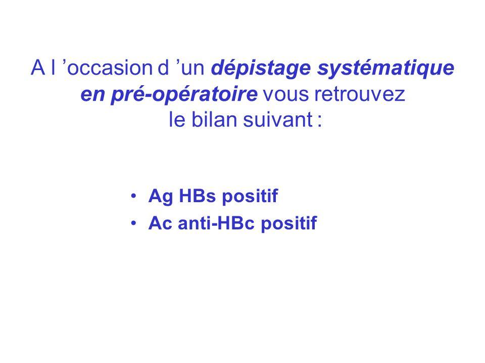 PORTEUR SAIN Ag HBs + Ac anti-HBc positif Ac anti-Hbe positif