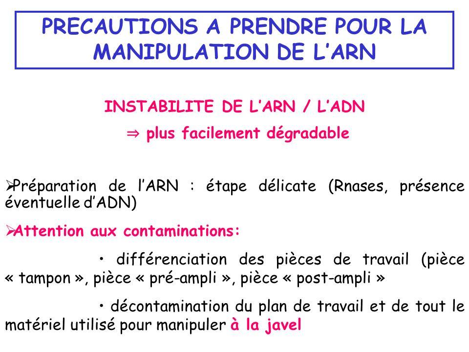 INSTABILITE DE LARN / LADN plus facilement dégradable Préparation de lARN : étape délicate (Rnases, présence éventuelle dADN) Attention aux contaminat