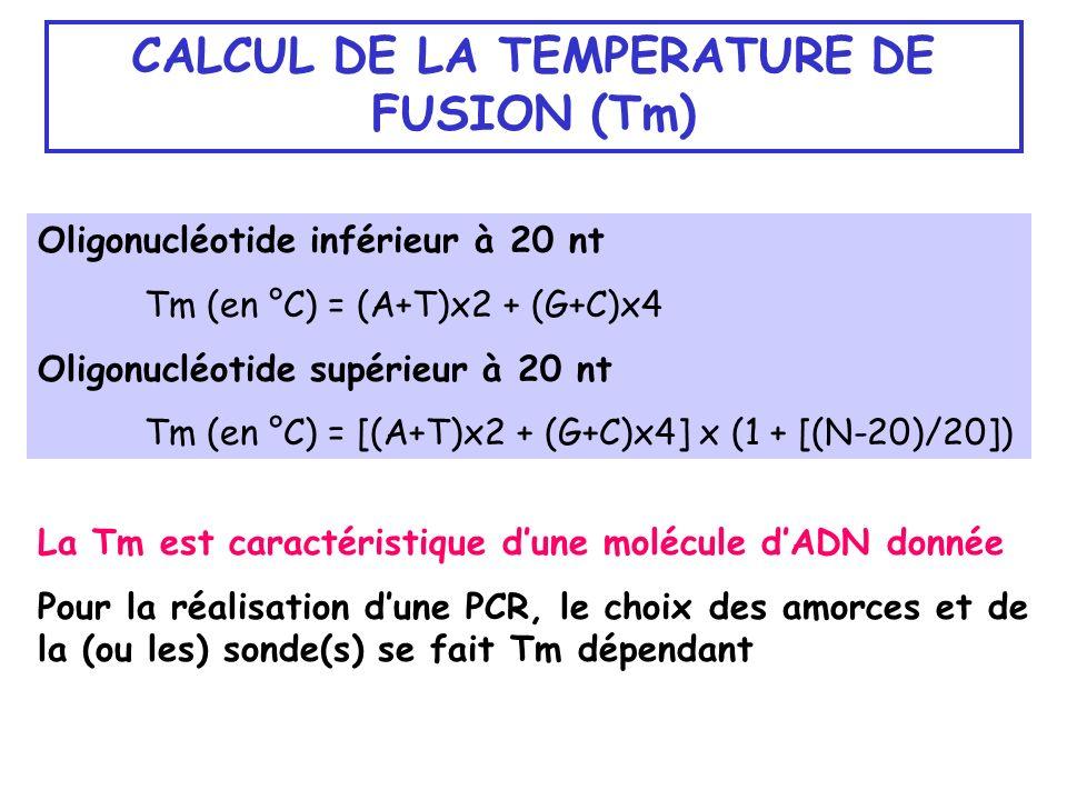 CALCUL DE LA TEMPERATURE DE FUSION (Tm) La Tm est caractéristique dune molécule dADN donnée Pour la réalisation dune PCR, le choix des amorces et de l