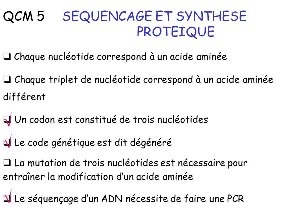 QCM 5 SEQUENCAGE ET SYNTHESE PROTEIQUE Chaque nucléotide correspond à un acide aminée Chaque triplet de nucléotide correspond à un acide aminée différ