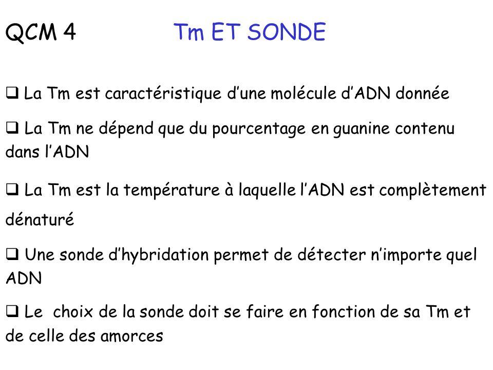 QCM 4 Tm ET SONDE La Tm est caractéristique dune molécule dADN donnée La Tm ne dépend que du pourcentage en guanine contenu dans lADN La Tm est la tem