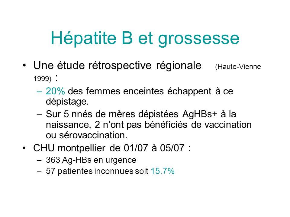 Hépatite B et grossesse Une étude rétrospective régionale (Haute-Vienne 1999) : –20% des femmes enceintes échappent à ce dépistage. –Sur 5 nnés de mèr
