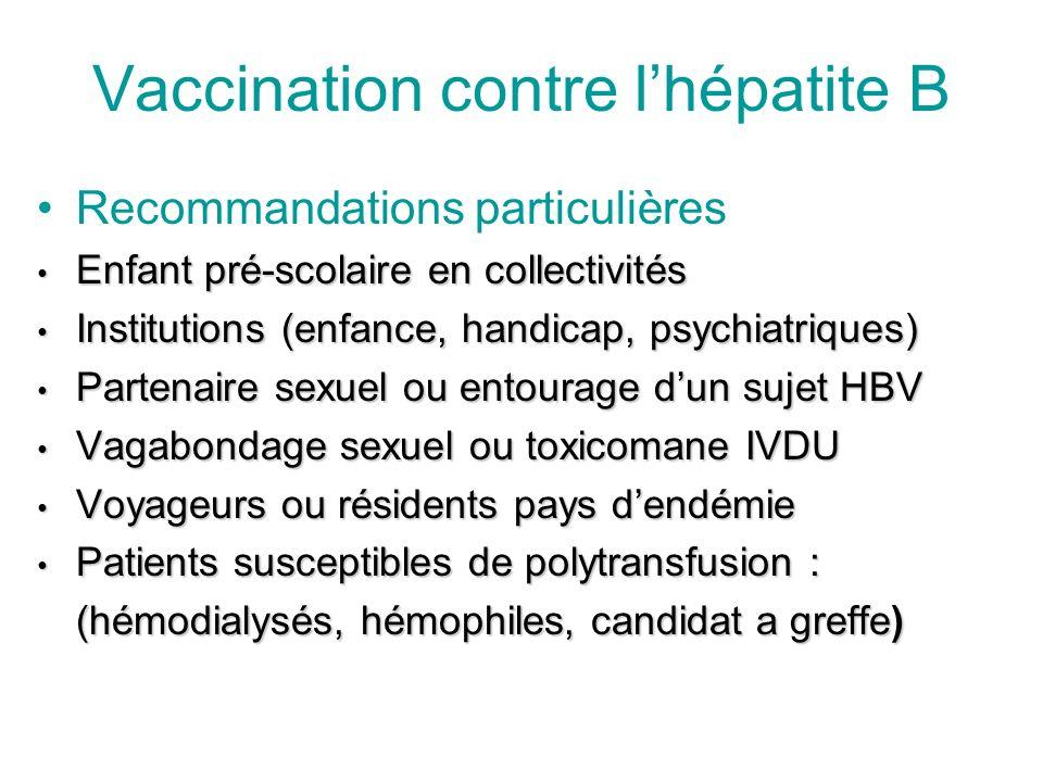 Vaccination contre lhépatite B Recommandations particulières Enfant pré-scolaire en collectivités Enfant pré-scolaire en collectivités Institutions (e