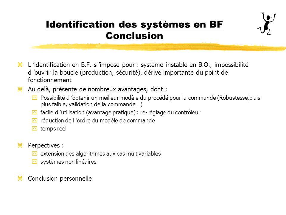 Identification des systèmes en BF Conclusion zL identification en B.F. s impose pour : système instable en B.O., impossibilité d ouvrir la boucle (pro