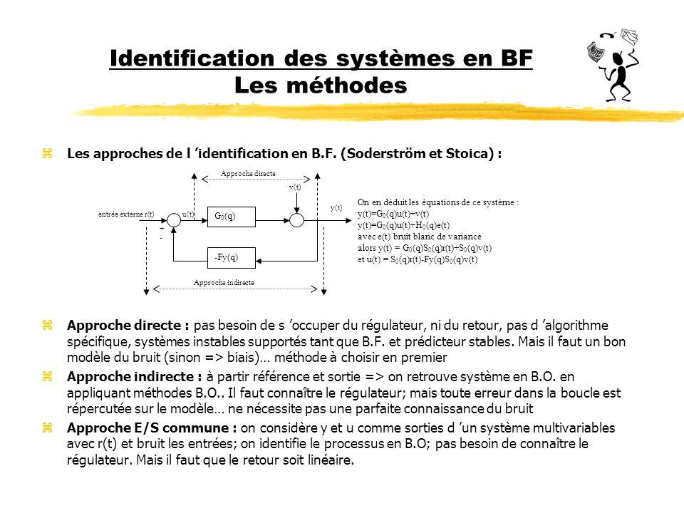 Identification des systèmes en BF Les méthodes zLes approches de l identification en B.F. (Soderström et Stoica) : zApproche directe : pas besoin de s
