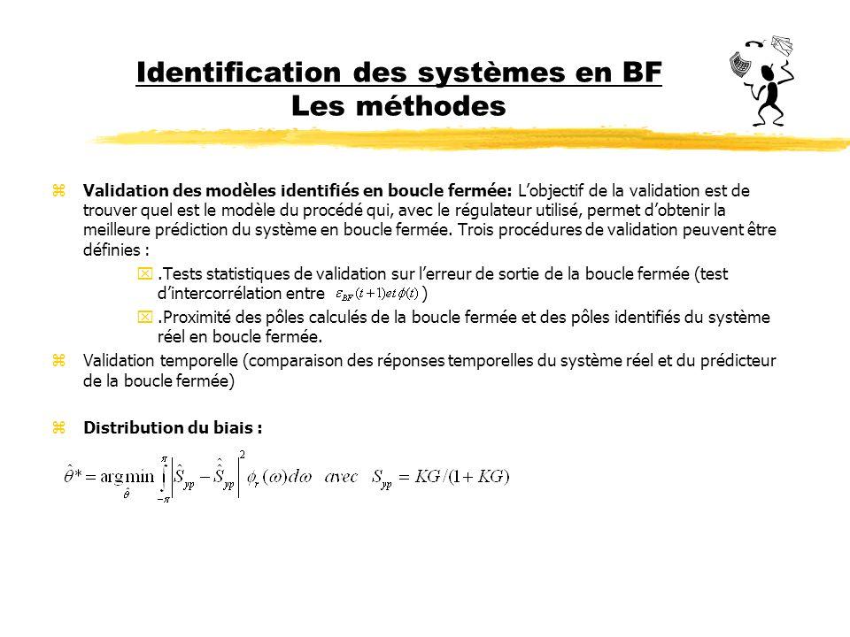 Identification des systèmes en BF Les méthodes zValidation des modèles identifiés en boucle fermée: Lobjectif de la validation est de trouver quel est