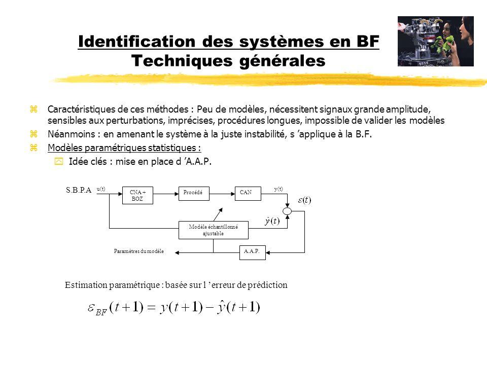 Identification des systèmes en BF Techniques générales zCaractéristiques des méthodes paramétriques statistiques : zéliminent les défauts mentionnés précédemment zalgorithmes non récursifs (Traitement en bloc horizon de temps) zrécursifs (Traitement pas à pas des données), permet suivi des paramètres en temps réel zopérant avec des signaux dexcitation extrêmement faibles (SBPA de faible niveau) z permet de modéliser les perturbations et bruits capteurs (et supprimer) ztraitement aisé du signal (analyse spectrale) Comment commence t on.
